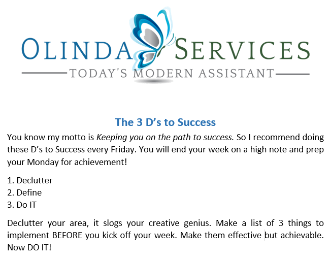 The Three D's of Success World-Class Executive Assistance