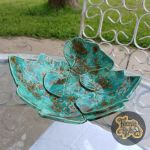 Brown & Turquoise Squash Leaves Bowl (Sold)