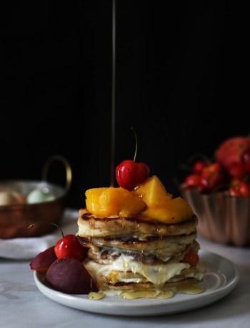 Peaches and Cream Buttermilk Pancakes
