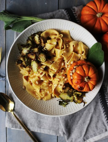 Pumpkin Alfredo with Sage Browned Butter and Crispy Brussels Sprouts