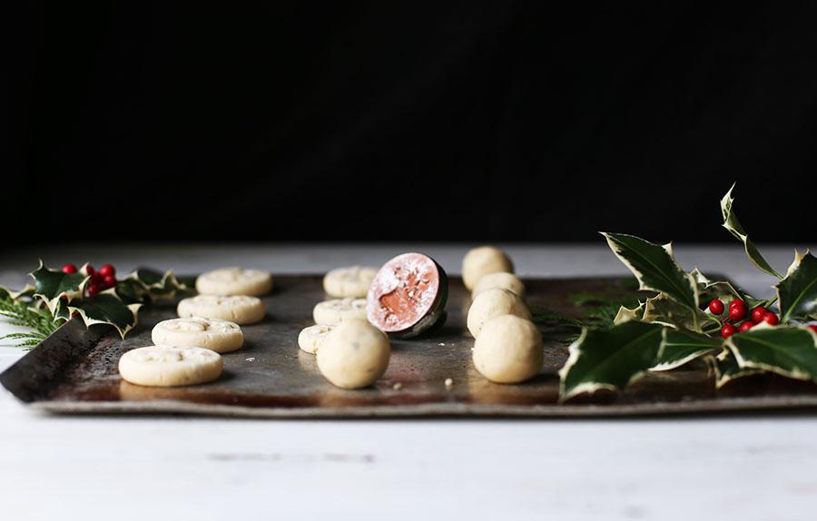 Stamped Rosemary Lemon Shortbread Cookies