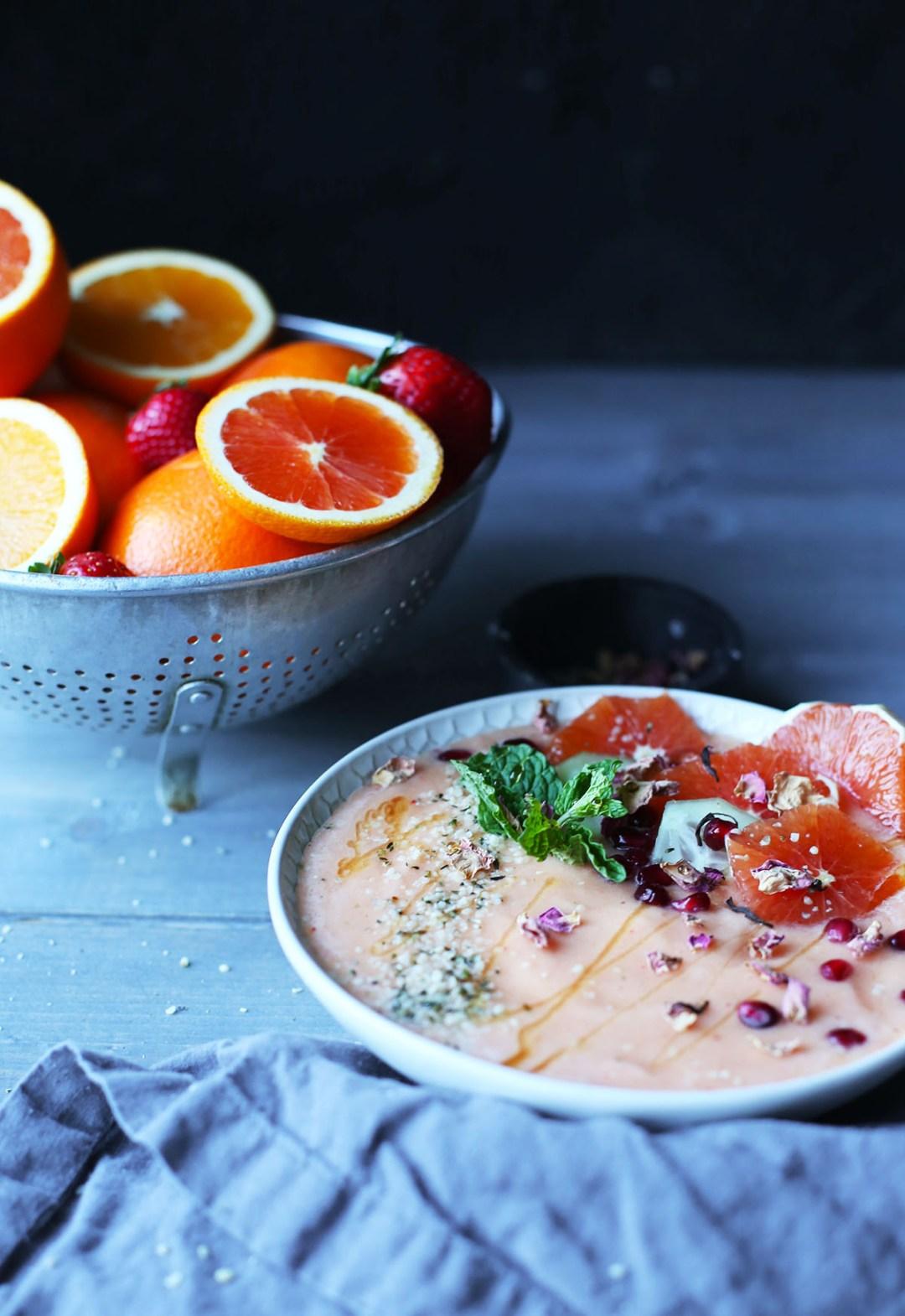 Winter Citrus Rosewater Smoothie Bowl