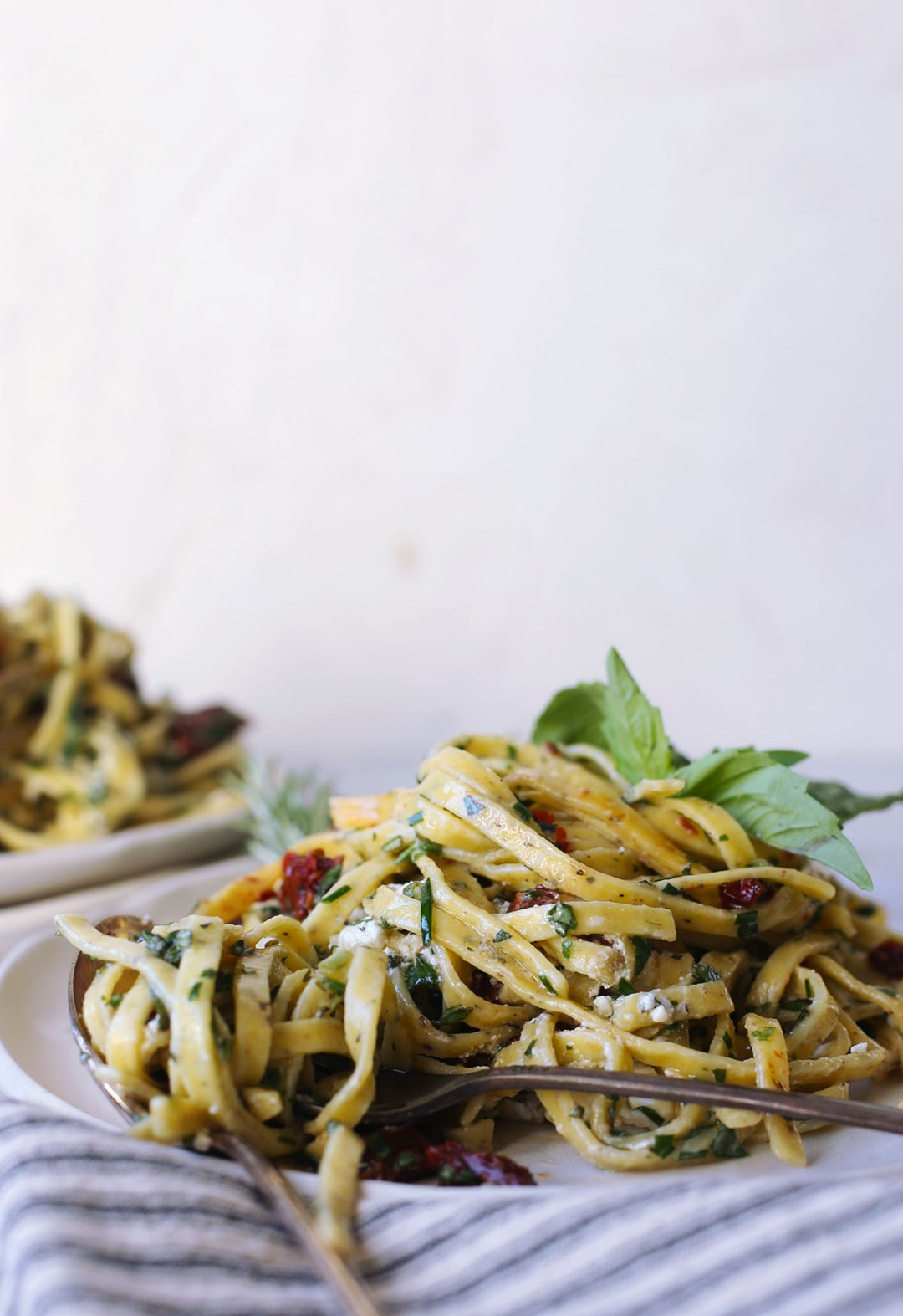 Sun Dried Tomato and Goat Cheese Pasta in a Butter Herb Sauce