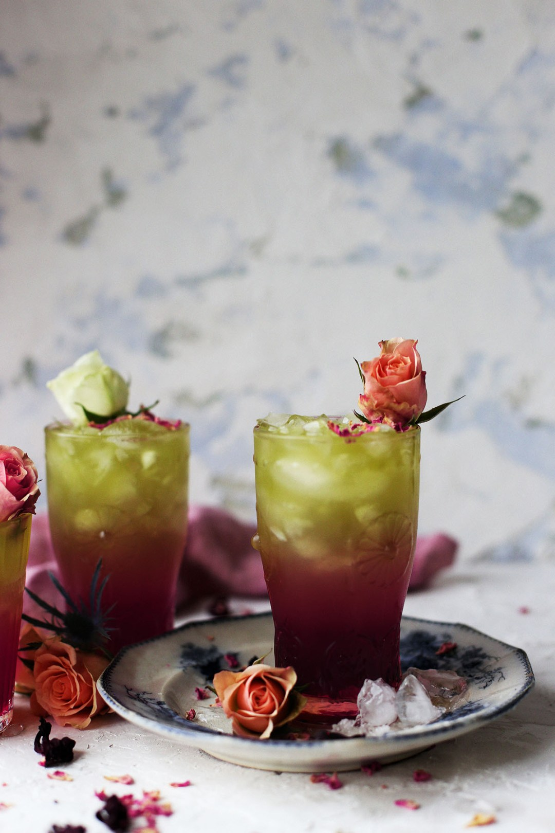 Refreshing Rose and Hibiscus Iced Green Tea