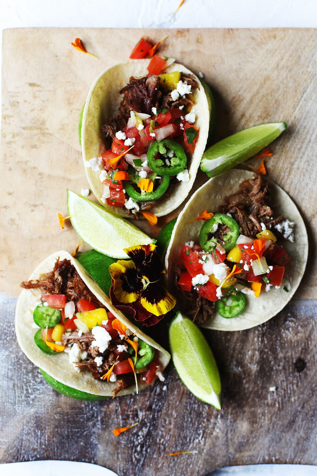 Barbacoa Street Tacos with Mango Pico De Gallo