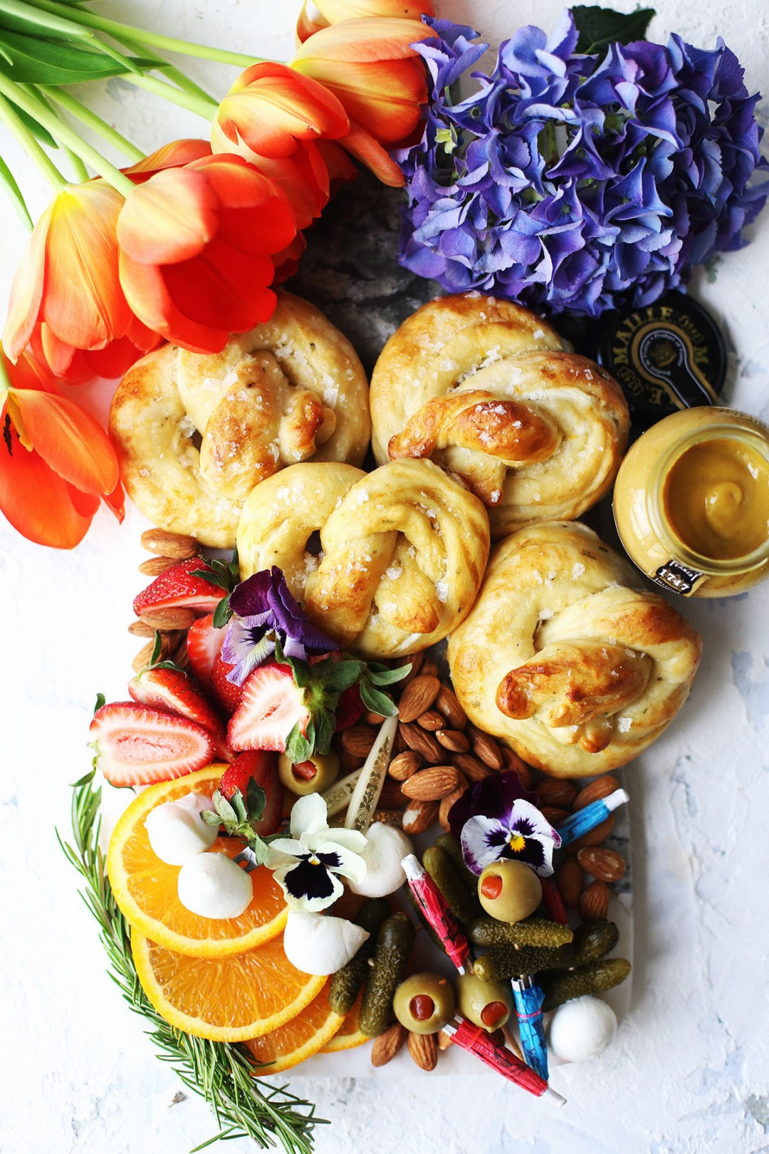 Rosemary Orange and Goat Cheese Stuffed Soft Pretzels