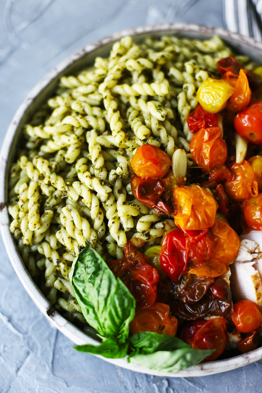 Pesto Pasta with Lemon Garlic Chicken and Cherry Tomato Confit