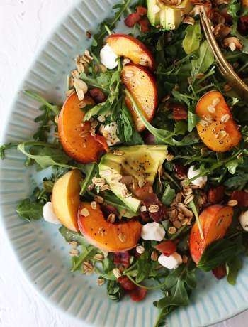 Arugula Peach and Crispy Bacon Salad with Maple Granola