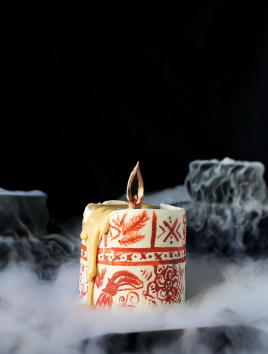 Hocus Pocus themed Chocolate and Pumpkin Black Flame Candle Cake