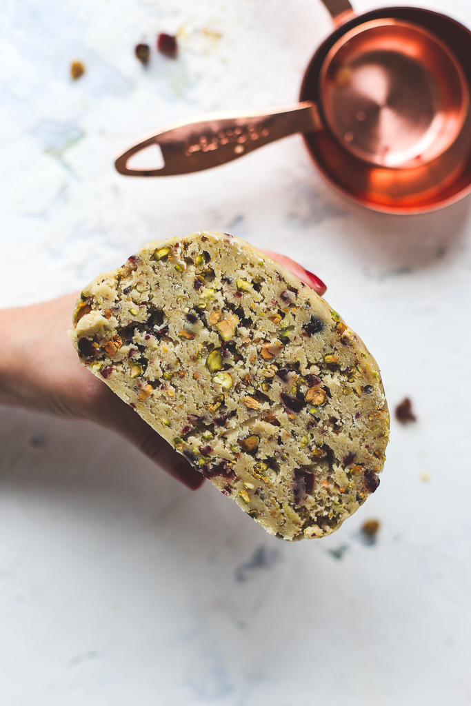 Pistachio Cherry Chocolate-Dipped Cookies