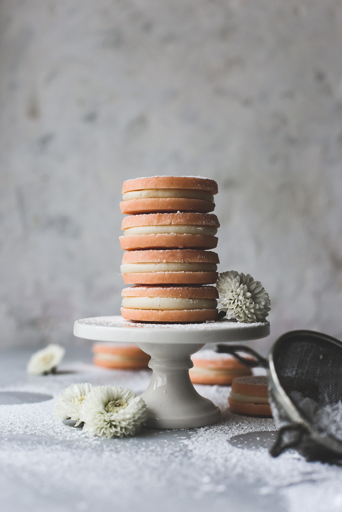 Peppermint Shortbread Cream Cheese Cookie Sandwiches