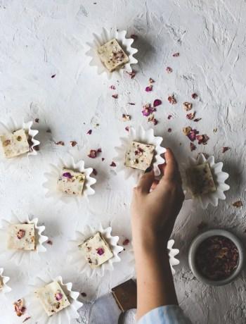 Pistachio Rose White Chocolate Fudge