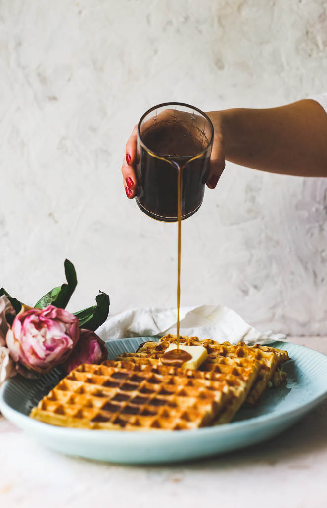 Crispy Buttermilk Waffles with Chai-Spiced Maple Syrup
