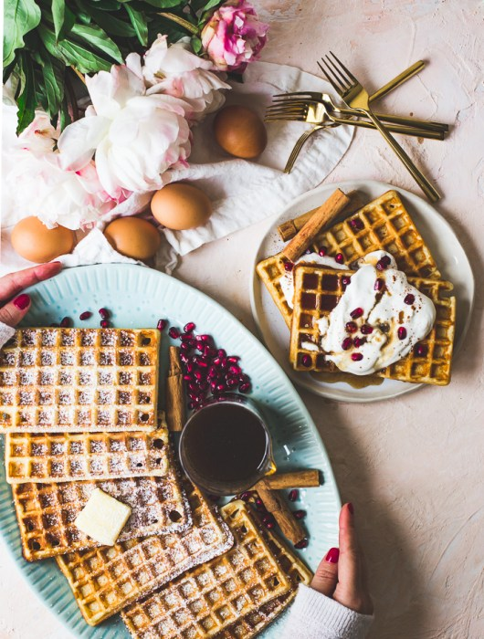 Crispy Buttermilk Waffles with Chai Spice Maple Syrup