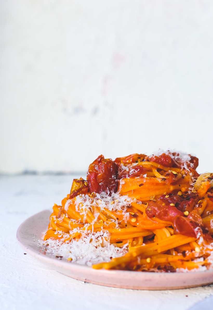 Creamy Roasted Red Pepper Chickpea Spaghetti