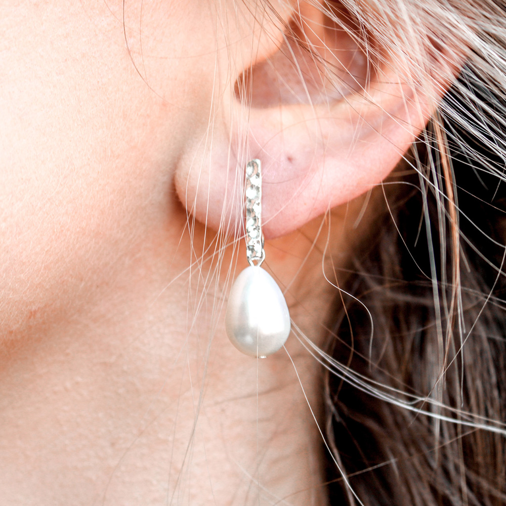 Sterling Silver Bar + Pearl