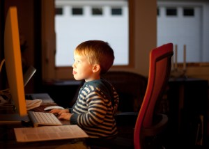 Child working at the computer