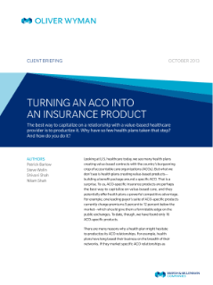 Turning An Aco Into An Insurance Product