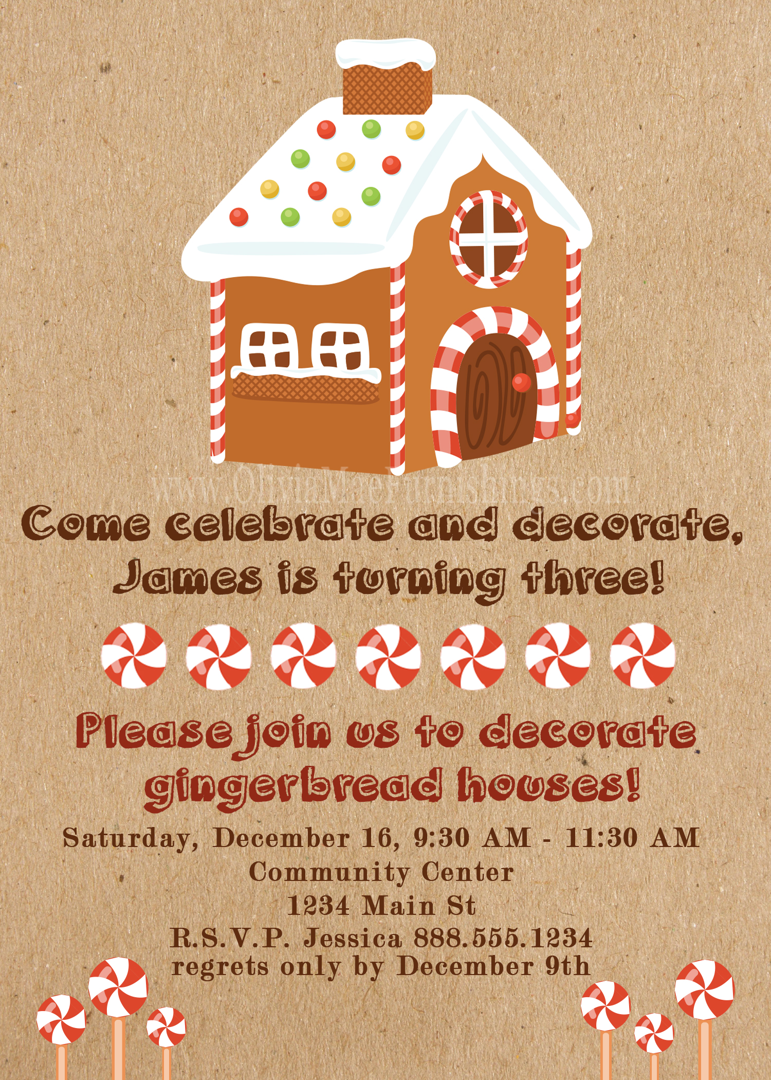 Gingerbread House Party Invitation Instant Download Print Olivia