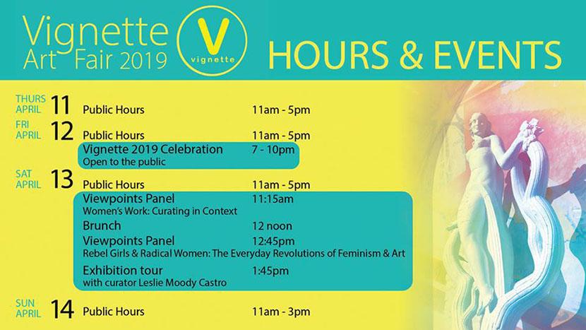 Flyer de conferencias de la exposición Texas Vignette 2019, realizada en The Women's Museum