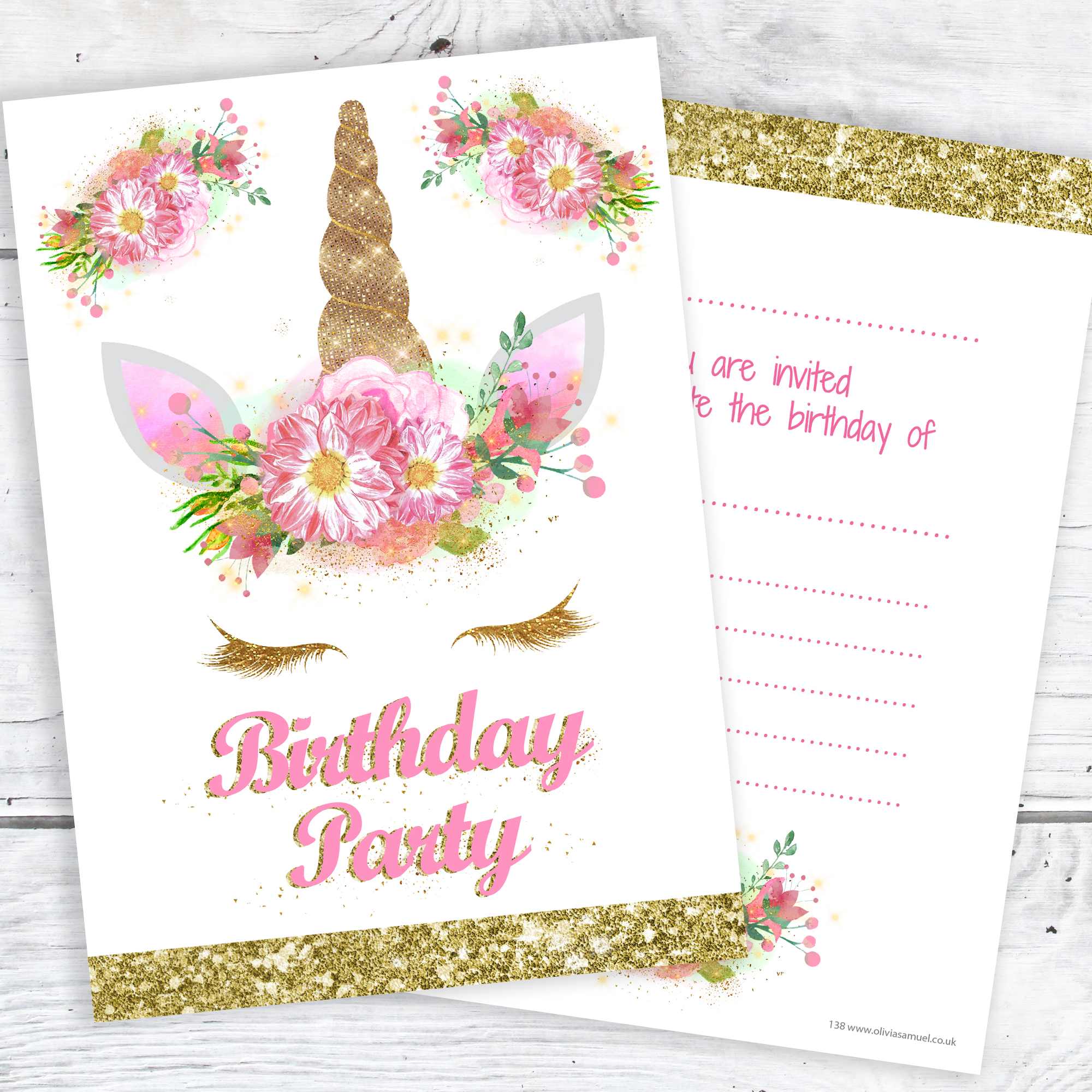 unicorn girls party invitations pink and gold glitter effect print with envelopes ready to write pack 10