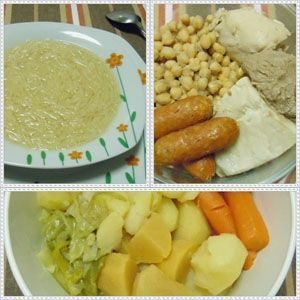 cocido con sopa y patatas