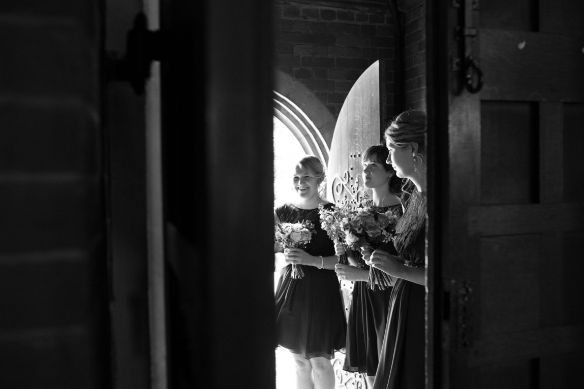 Bridal party in a church foyer