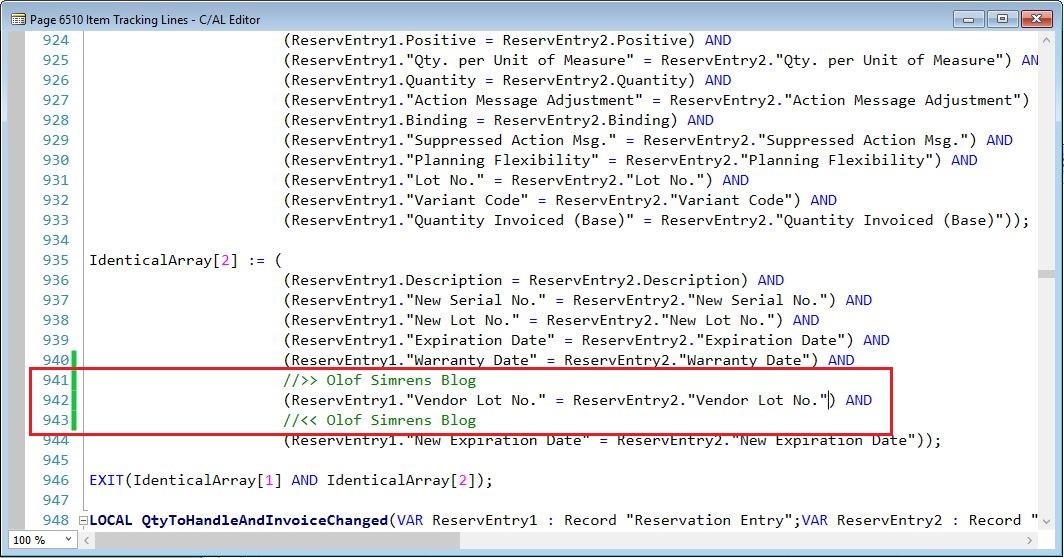 EntriesAreIdentical-Function-Item-Tracking-Lines-Page-Dynamics-NAV