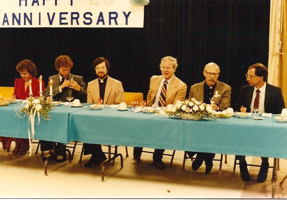 At the 25th Anniversary Celebration. L-R Charlene Faiola, Fr. Jim Dammier, Fr. Bill Stanfield, Fr. Robert Lotz (?) Fr. Jim Vojtik, Fr. Joe Juknialis.