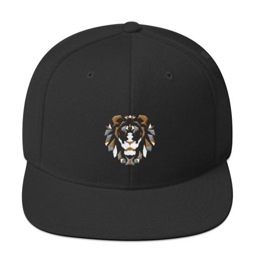 Olotu Lion Head Black Snapback Cap