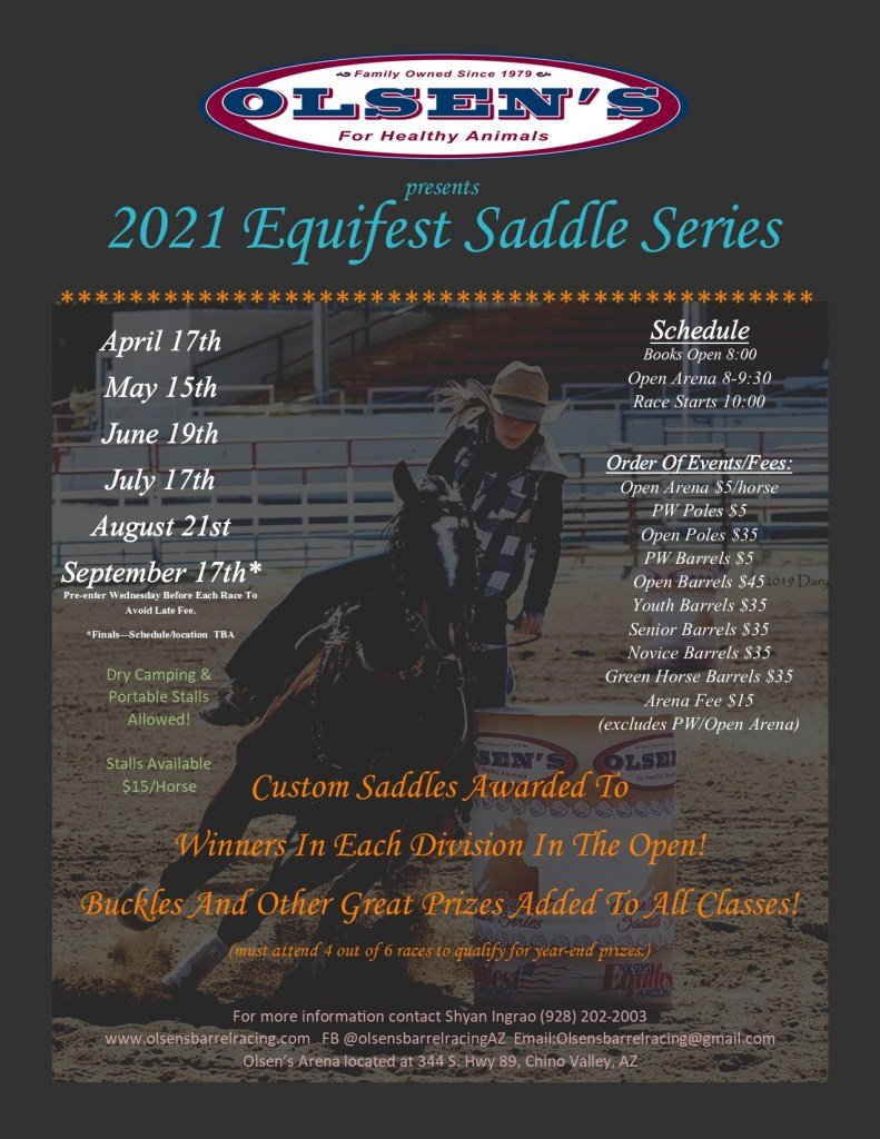 Olsen's 2021 Saddle Series Flyer with dates