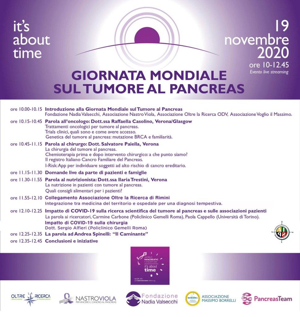 Giornata Mondiale sul Tumore al Pancreas 2020 - Programma
