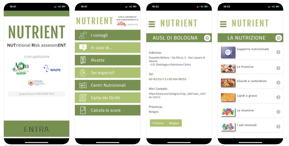 Nutrient App screen