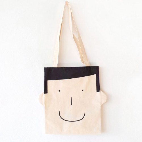 Fun tote bag Sam in black by Olula. Bolsa de tela