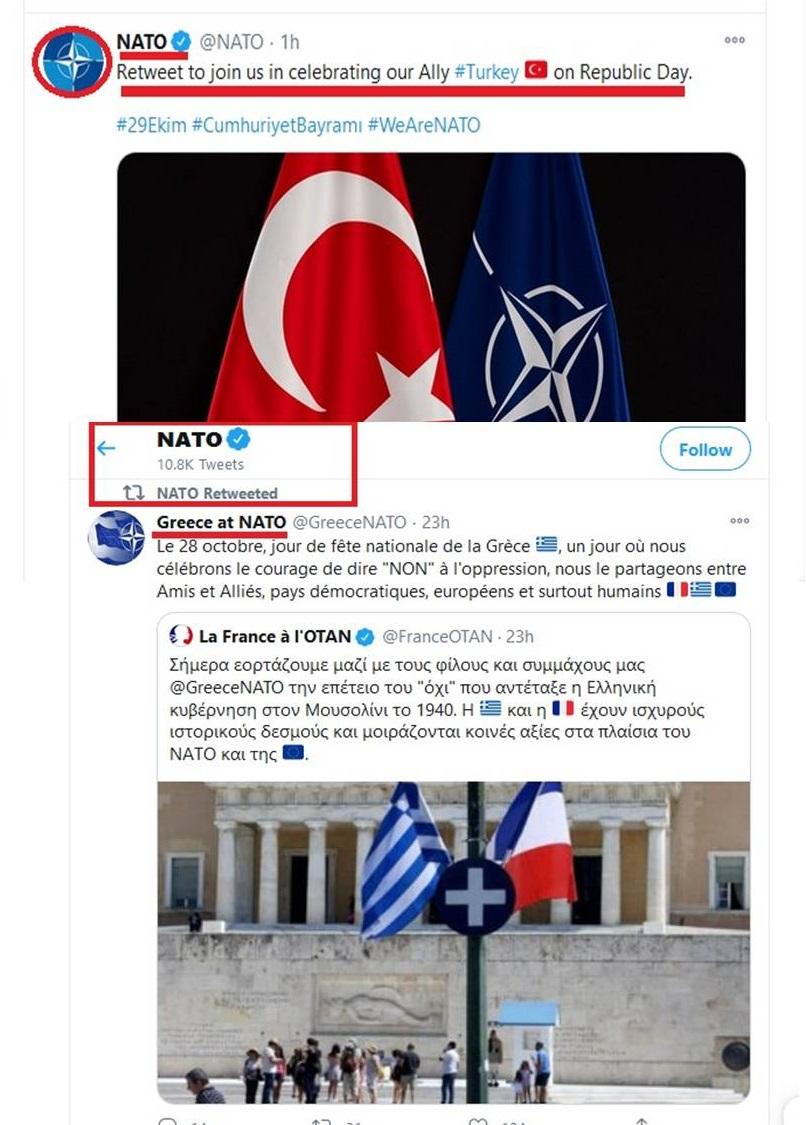 Διάβημα τώρα…Το ΝΑΤΟ ανέβασε τουίτ για την εθνική γιορτή της τουρκίας, ενώ χθες απλά κοινοποίησε τουίτ της Ελληνικής Αντιπροσωπείας