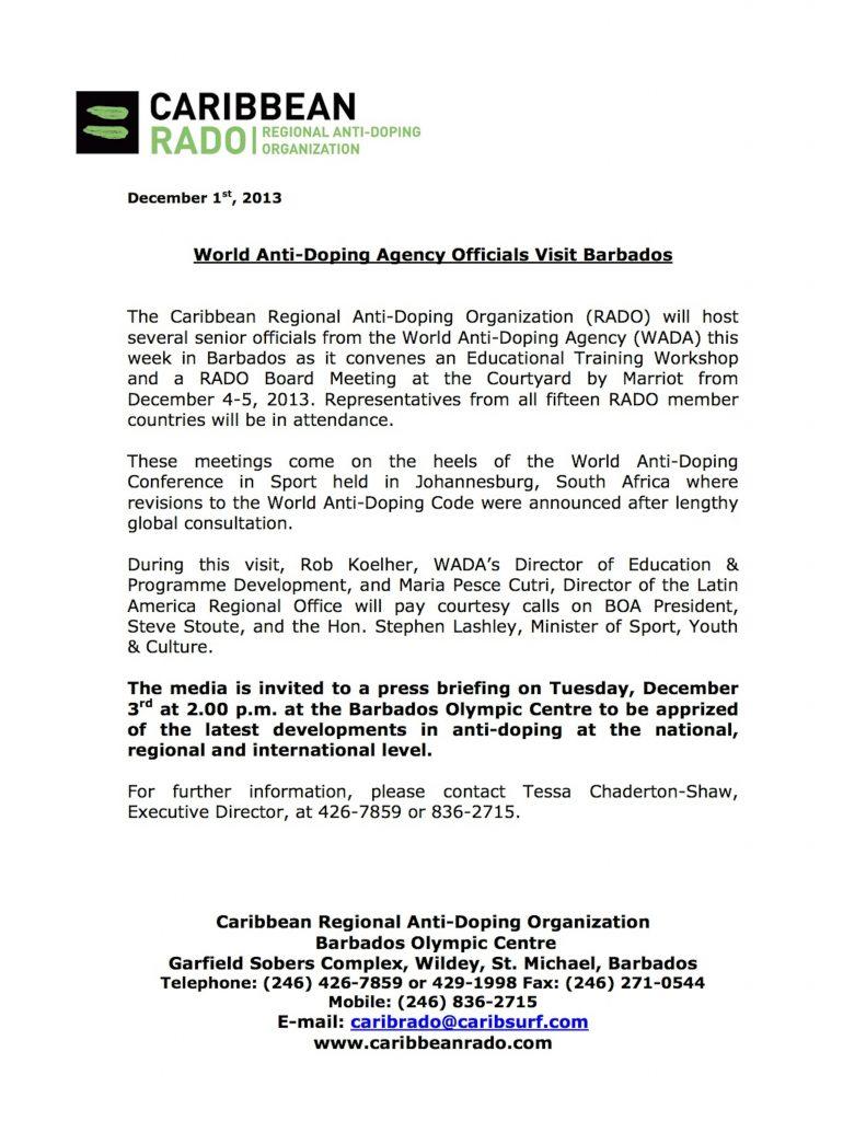 WADA Barbados Visit- TCS