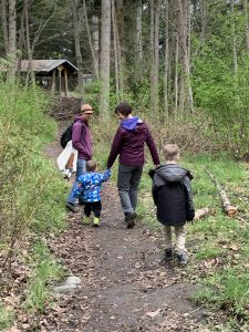 Kids walking on the trail with mom and Teacher