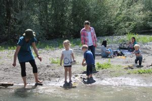Families gathered near the water