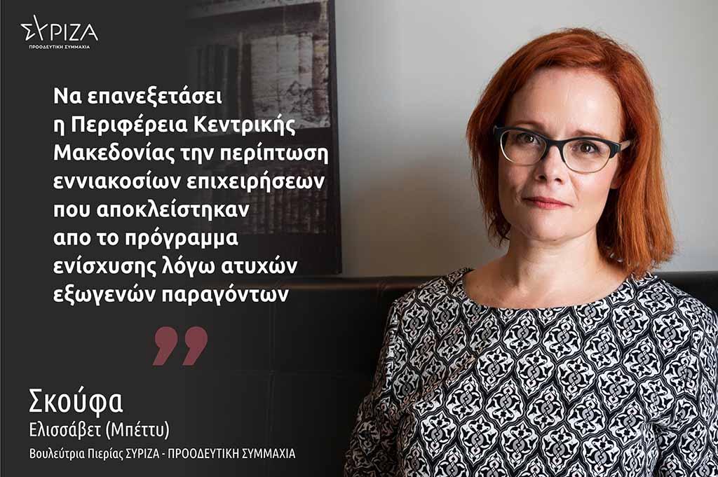 Σκούφα: «Ζητείται άμεση λύση για τον αποκλεισμό 900 επιχειρήσεων της Κεντρικής Μακεδονίας από το πρόγραμμα ενίσχυσης μικρών επιχειρήσεων, λόγω ατυχών εξωγενών παραγόντων»