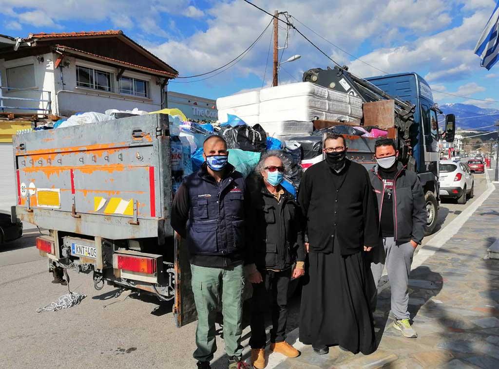 «Αποστολή αγάπης» της Ιεράς Μητροπόλεως Κίτρους και φορέων του Πλαταμώνα στους σεισμόπληκτους της Ελασσόνας
