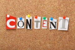 The word Content on a cork notice board