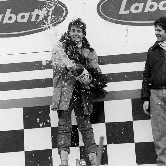 Gilles Villeneuve (CDN) (Centre) celebrates his maiden GP victory on the podium by spraying Labatt's beer. Canadian Grand Prix, Rd 16, Montreal, Canada, 8 October 1978.