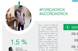 campanha, internet, acidente de trânsito, #ForçaErick