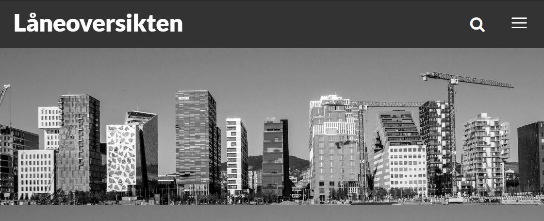 Bilde viser Låneoversikten sin hjemmeside Barcode fra oslo i svart hvitt. Høye innovative bygninger ligger på rekke og rad ved sjøen og viser fantastisk entrepenørskap og innovasjon.