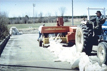 Figure 1. Windrow of plastic being baled.