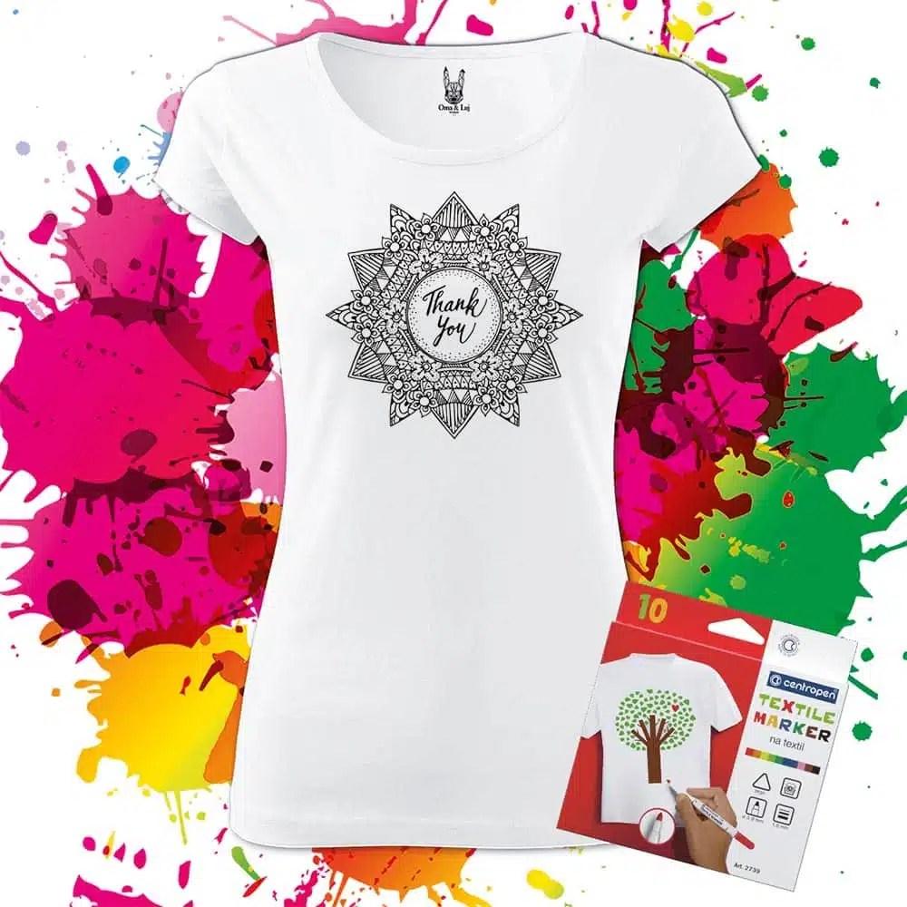 Dámske tričko Mandala vďačnosti - Omaľovánka na tričku - Oma & Luj - Omaluj.sk