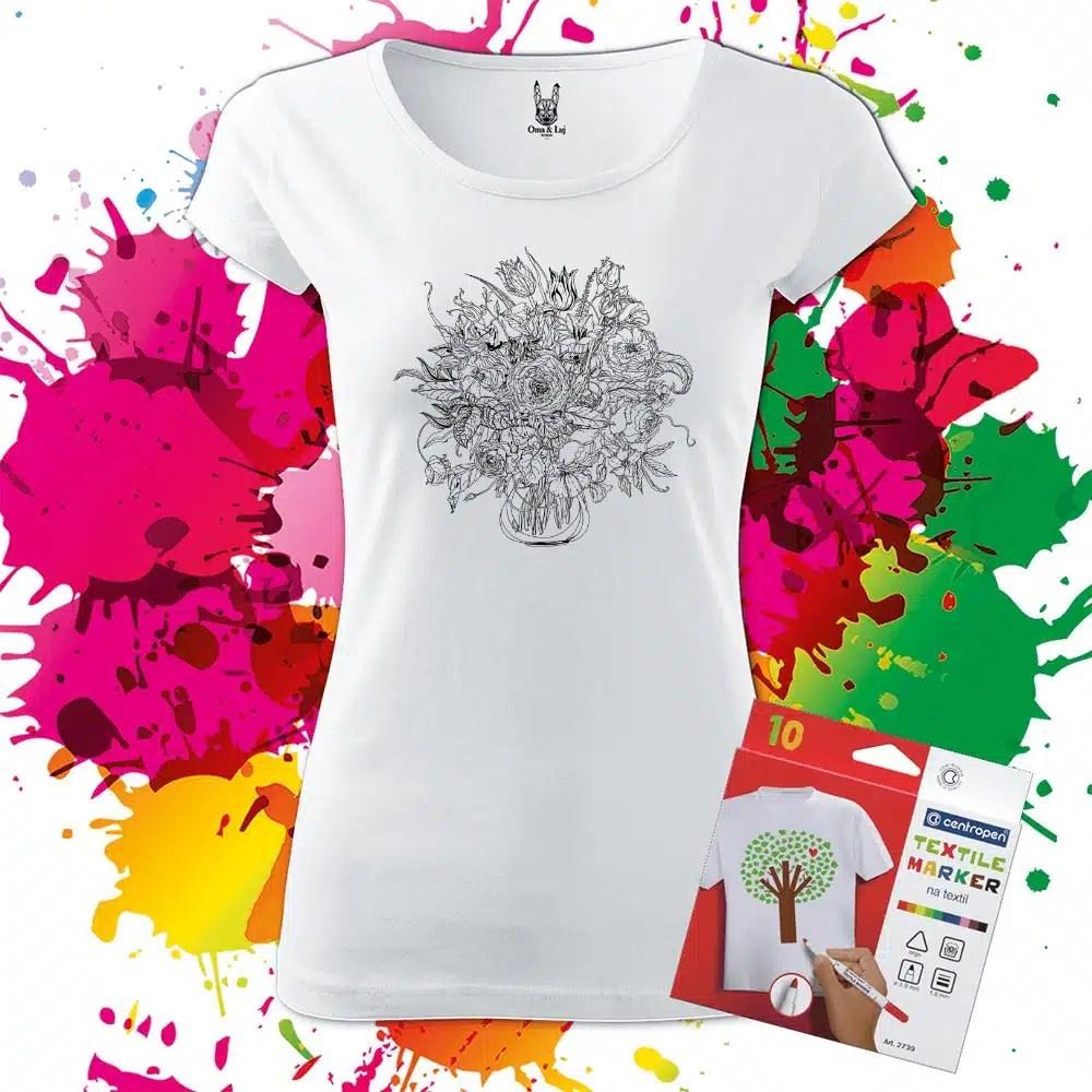 Dámske tričko Kytica - Omaľovánka na tričku - Oma & Luj