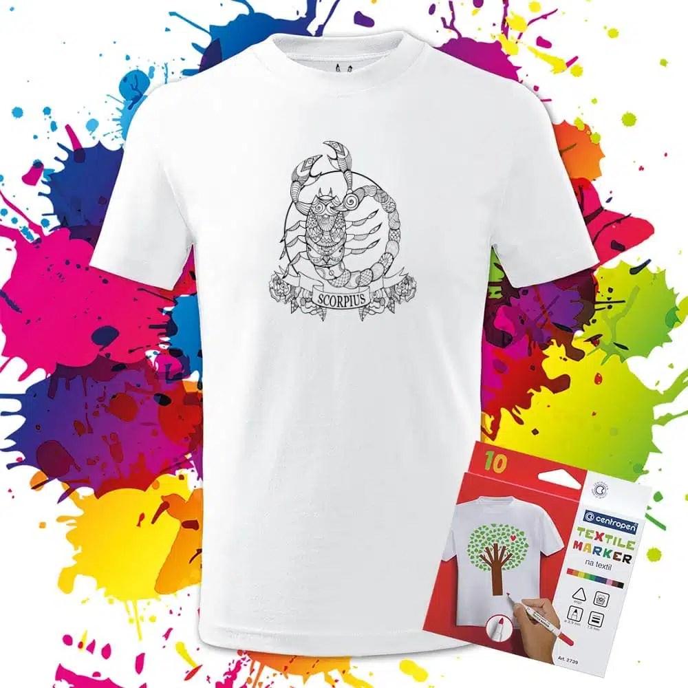 Detské tričko Škorpión - Znamenia - Omaľovánka na tričku - Oma & Luj
