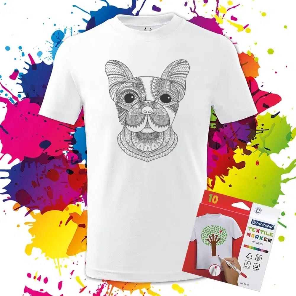 Detské tričko Milý Francúzsky Buldoček - Omaľovánka na Tričku - Oma & Luj