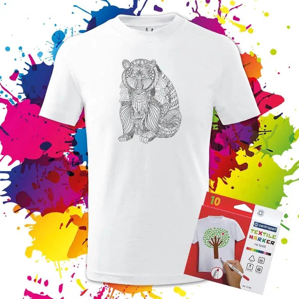 Detské tričko Medved - Maco - Omaľovánka na tričku - Oma & Luj